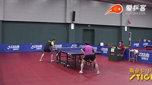 中国女乒直通杜塞尔多夫5进2 文佳VS冯亚兰