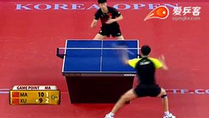 如何直拍横打之7许昕反手拉前冲弧圈球II2016韩国赛决赛