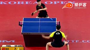 如何直拍横打之9许昕直拍反手拉加转弧圈球2016韩国赛决赛