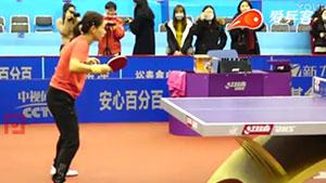 刘诗雯反手防弧圈超级慢镜头