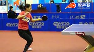 刘诗雯正手拉球左手